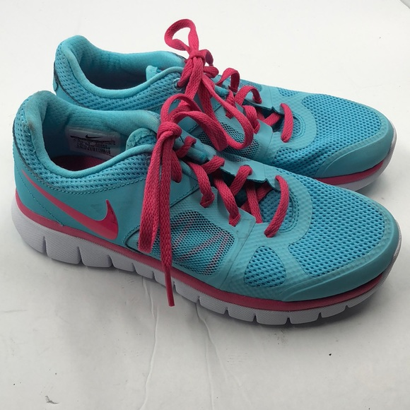 Nike Flex Girl's Blue Pink Running Shoes 4.5 4.5Y